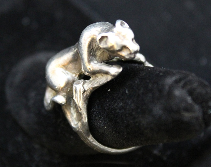 Sterling Jaguar Ring, Solid Silver Ring, Wild Cat Silver Ring, Tiger Ring, Panther Jewelry, Statement Ring