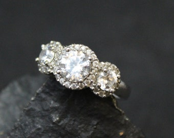 Sterling Silver Three Stone CZ Halo Ring, Sterling Silver CZ Engagement Ring, CZ Halo Ring, Sterling Silver Halo Ring, Fake Diamond Ring