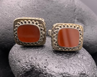 Vintage Men's Sterling Silver Israeli Cuff Links with Maroon Colored Stones, 925 Israel
