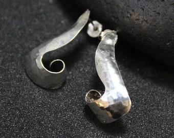Sterling Silver Modernist Hammered Hoop Earrings, Swoop Earrings, Sterling Swoop Earrings, Sterling Silver Hoops, Unique Silver Hoops