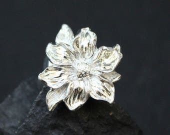 Sterling Silver Flower Ring, Floral Sterling Ring, Sterling Flower Jewelry, Poinsettia Ring, Sterling Poinsettia, Holiday Jewelry