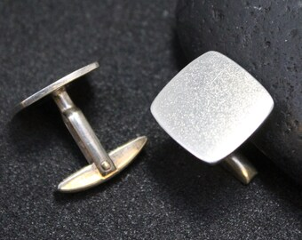 Sterling Silver Modern Square Cuff Links, Simple Sterling Cuff Links, Mid Century Cuff Links, Mid Century Sterling, Retro Cuff Links