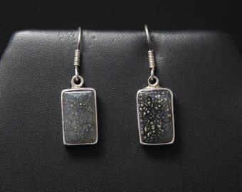 Sterling Silver Sparkle Resin Dangle Earrings, Sterling Glitter Earrings, Rectangle Dangle Earrings, Sterling Silver Resin Earrings