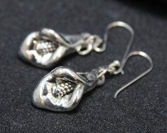 Sterling Silver Dangle Flower Earrings, Sterling Flower Earrings, Calla Lily Sterling Silver Flower Earrings, Sterling Silver Calla Lily
