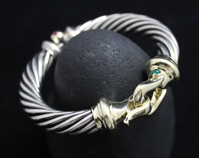 David Yurman Sterling Silver Classic Cable Buckle Bracelet, 10mm, 14k Gold and 925 Sterling Silver Bracelet
