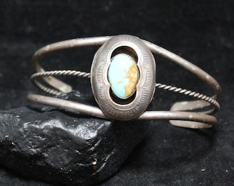 Stunning Turquoise Cuff Bracelet, Sun Ray Navajo Cuff, Native American Southwestern 925 Sterling Silver Cuff Bracelet, Authentic Vintage