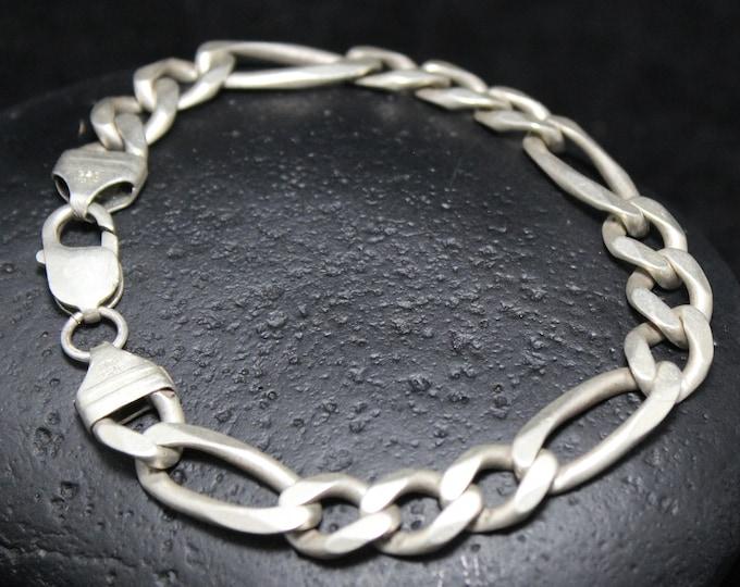 Men's Sterling Silver Figaro Link Chain Bracelet, Chunky Sterling Silver Link Bracelet, 9 Inch Heavy Silver Chain Bracelet