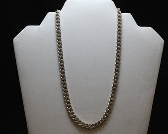 """18"""" Sterling Silver Curb Link Necklace, Heavy Sterling Silver Curb Link Necklace, 6 MM Curb Link Chain Necklace"""