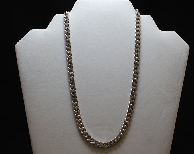 "18"" Sterling Silver Curb Link Necklace, Heavy Sterling Silver Curb Link Necklace, 6 MM Curb Link Chain Necklace"