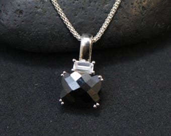 Sterling Silver Faceted Black Gemstone Necklace, Black Gemstone Pendant, Emerald Cut CZ Necklace, Black and White Necklace