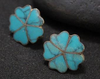 Sterling Silver Antique Taxco Turquoise Inlay Flower Screw Back Earrings, Taxco Flower Earrings, Turquoise Inlay Earrings, Sterling Clover