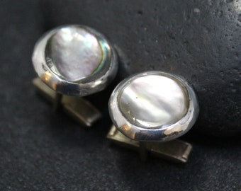 Sterling Silver Abalone Cuff Links, Round Sterling Silver Cuff Links, Abalone Cuff Links, Sterling Silver Shell Cuff Links