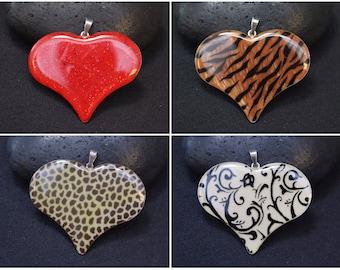 One Sterling Silver Enamel Heat Pendant, Animal Print Jewelry, Sterling Heart Pendant, Large Sterling Silver Enamel Heart, Heart Necklace