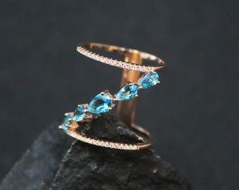 Rose Gold Over Sterling Silver Blue Topaz Micro Pave Ring, Rose Gold Micro Pave Ring, Minimalist Pave CZ Ring, Rose Gold Jewelry