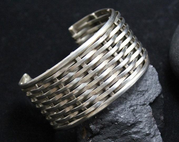 Sterling Silver Vintage Handmade Woven Cuff, Minimalist Antique Silver Cuff Bracelet, 6 inch inner diameter
