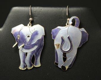 Unique Sterling Silver Enamel Elephant Earrings (AS IS), Sterling Silver Enamel Earrings, Antique Enamel Jewelry, Dangle Elephant Earrings