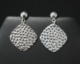 Modern Silver Textured Square Dangle Earrings, Modern Silver Dangle, Hammered Silver Earrings, Hammered Silver Jewelry