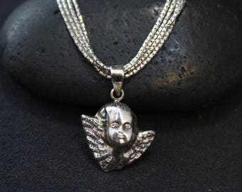 Sterling Silver Angel Baby Necklace, Sterling Cherub Necklace, Sterling Cherub Pendant, Miscarriage Jewelry, Miscarriage Necklace