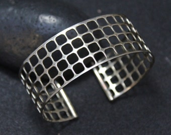 Sterling Silver Mesh Cuff Bracelet, Geometric Sterling Silver Cuff, Modernist Silver Jewelry, Futuristic Sterling Silver Cuff Bracelet