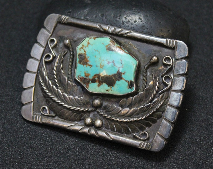 Sterling Silver Turquoise Buckle, Native American Turquoise Belt Buckle, Old Pawn Belt Buckle, Sterling Silver Navajo Belt Buckle