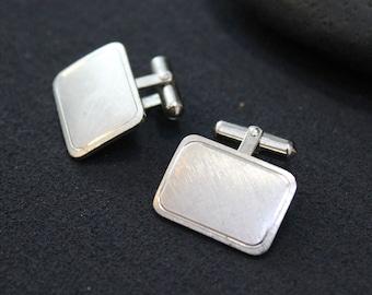 Sterling Silver Modern Textured Cuff Links, Simple Sterling Cuff Links, Mid Century Cuff Links, Mid Century Sterling, Retro Cuff Links