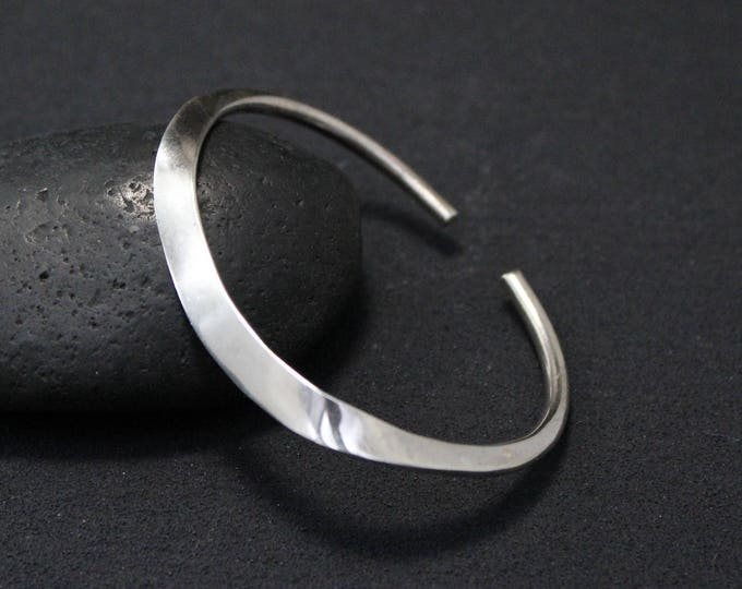 Sterling Silver Modernist Flattened Cuff Bracelet, Modern Sterling Silver Cuff, Minimalist Silver Cuff Bracelet, Modern Sterling Jewelry