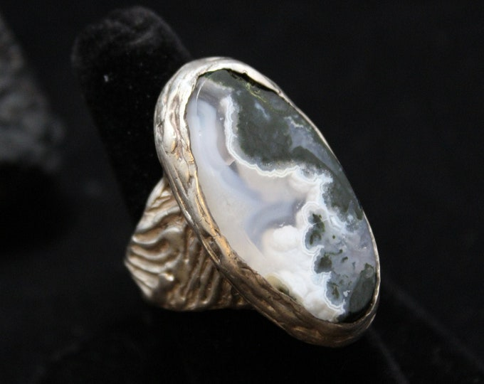 Sterling Ying Yang Agate Oval Statement Vintage Large Ring Unisex Sold AS IS