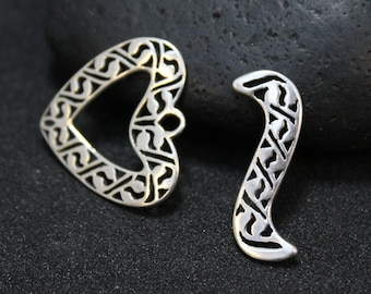 Ornate Sterling Silver Two Piece Clasp, Sterling Silver Heart Clasp, Large Sterling Silver Clasp, Sterling Jewelry Making Clasp, Heart Clasp
