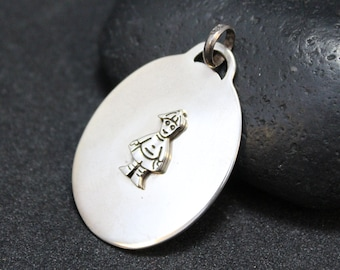 Sterling Oval Kid Boy Pendant, Mom Jewelry, Little Boy Necklace, Sterling Silver Son, Baby Shower Jewelry, Sterling Person Necklace
