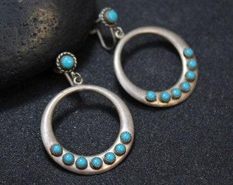 Sterling Turquoise Dangle  Hoop Earrings, Turquoise Gemstone Earrings, Sterling Silver Turquoise Jewelry, Screw Back Turquoise Earrings