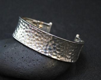 Sterling Silver Hammered Cuff Bracelet, Hammered Sterling Silver Cuff, Hammered Silver Jewelry, Textured Sterling Silver Cuff Bracelet