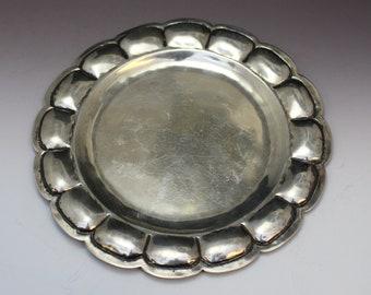 Beautiful Sterling Silver HANDMADE Fiesta Mexico Plate, Sterling Salad Plate, Mexican Sterling Silver Tableware, Fiesta Sterling Dish