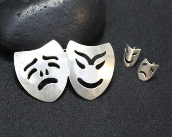 Sterling Silver Comedy and Tragedy Brooch and Earrings Jewelry Set, Drama Stud Earrings, Sterling Drama Brooch, Drama Pin, Drama Mask Studs