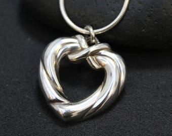 Sterling Silver Open Heart Necklace, Sterling Open Heart Pendant, Heart Jewelry, Valentine's Day Necklace, Valentine's Day Gift