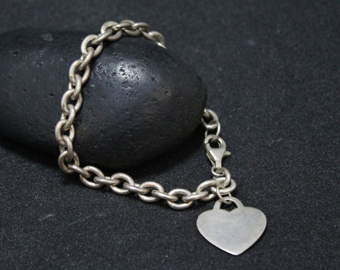 Sterling Silver Heart Tag Link Bracelet, Sterling Heart Bracelet, Sterling Silver Heart Charm, Sterling Heart Tag, Trendy Sterling Bracelet