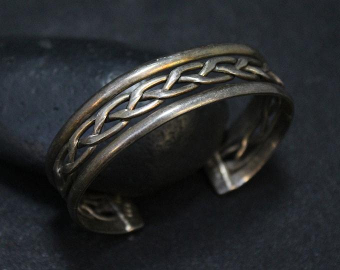 Sterling Silver Unisex Cuff Bracelet, Men's Sterling Cuff, Men's Sterling Silver Jewelry, Braided Cuff Bracelet, Sterling Silver Taxco Cuff