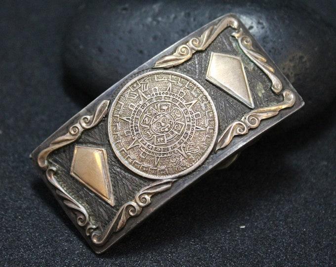 Sterling Silver Mayan Calendar Two Tone Belt Buckle