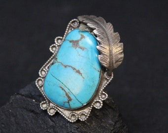 AS IS Sterling Silver and Turquoise Old Pawn Men's Navajo, Old Pawn Turquoise Ring, Sterling Native American Unisex Ring, Large Navajo Ring