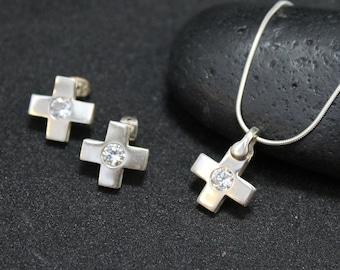 Sterling Silver  CZ Cross Jewelry Set, Cross Stud Earrings, Sterling CZ Necklace and Earring Set, Criss Cross Earrings, Criss Cross Necklace