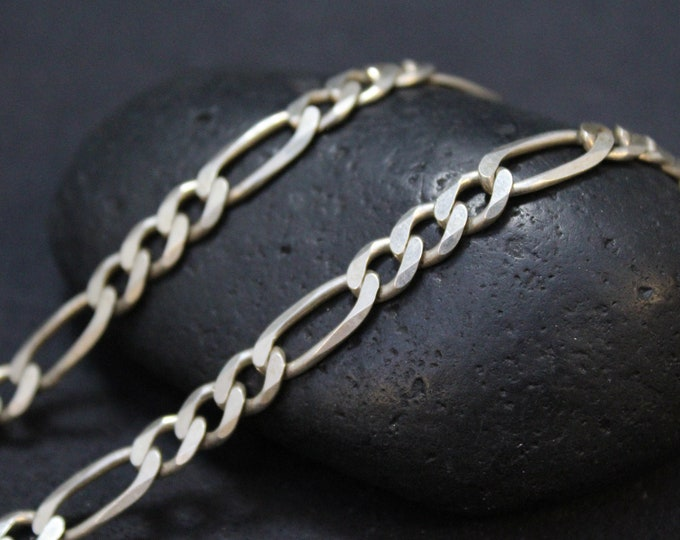 Sterling Silver Unisex 24 inch Figaro Link Chain, Sterling Silver Figaro Chain, Men's Sterling Silver Chain, Men's Silver Chain, Figaro Link