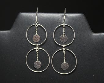 Sterling Silver Hammered Dangle Open Circle Earrings, Delicate Dangle Earrings, Hammered Dangle Earrings, Sterling Open Circle Earrings