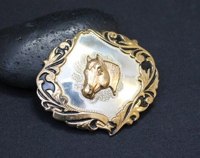 "Ladies Sterling Silver Irvine & Jachens Horse Belt Buckle, Sterling Rodeo Buckle, Sterling Horse Buckle, Sterling Silver Belt Buckle 1"" belt"