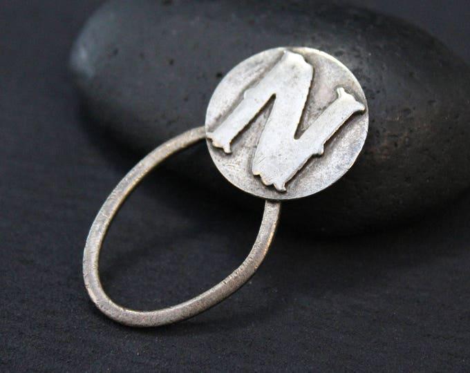 Sterling Silver Letter N Initial Key Holder, Sterling Silver Key Chain, Sterling Silver Letter N, Vintage Sterling Key Holder