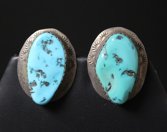 Large Sterling Silver Old Pawn NATHANIEL JOHNSON Navajo Turquoise Earrings, Large Turquoise Earrings, Large Old Pawn Earrings, Signed Navajo
