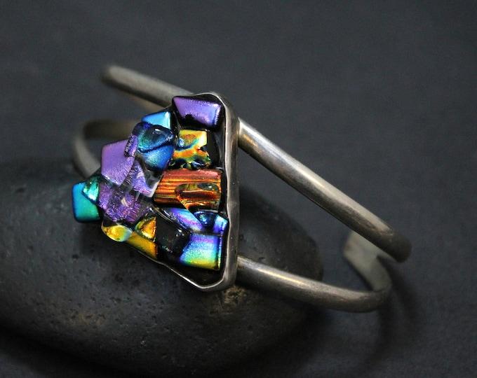 Sterling Silver Art Glass Cuff Bracelet, Dichroic Glass Jewelry, Sterling Silver Dichroic Glass Bracelet, Sterling Dichroic Glass Cuff