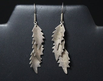 Sterling Silver Layered Leaf Dangle Earrings, Sterling Leaf Earrings, Long Leaf Dangle Earrings, Sterling Silver Leaf Jewelry