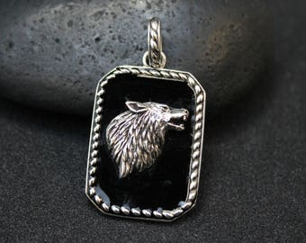 Sterling Silver and Enamel Wolf Dog Tag Pendant, Sterling Wolf Pendant, Sterling Silver Wolf, Lone Wolf Pendant, Sterling Wolf Necklace