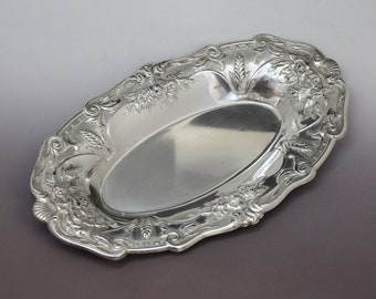 Oval Sterling Silver Floral Repousse Wheat Design Tray, Sterling Repousse Sterling Tray, Floral Sterling Silver Tray, Oval Sterling Tray