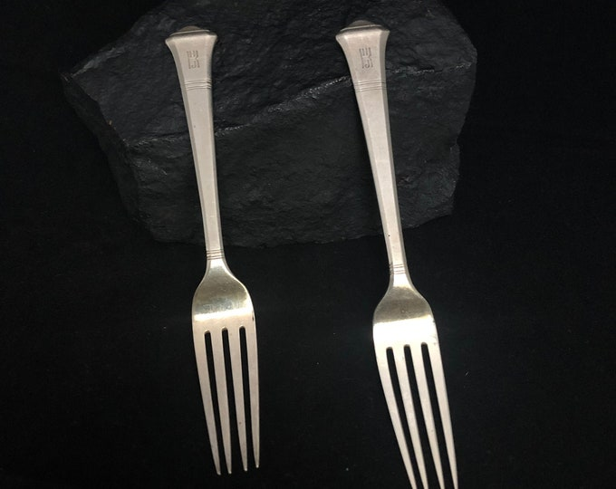 """Tiffany & Co. Sterling Silver Pair of Dinner Forks, Sterling Silver Tiffany and Co. """"Windham"""" Pattern Forks, Pat. 1923 Two (2) Tiffany Forks"""