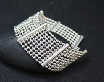 Wide Silver Ball Link Bracelet, Wide Silver Bracelet, Silver Ball Chain, Modern Silver Link Bracelet